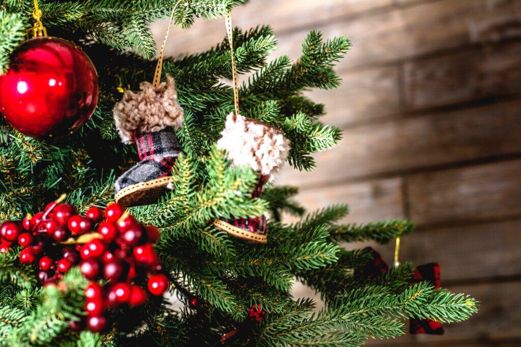 Jõulupuu marjade ja väikeste papudega