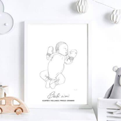Graafiline joonistust beebist kinnastega