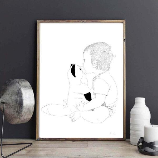 Graafiline pilt lapsest kassiga