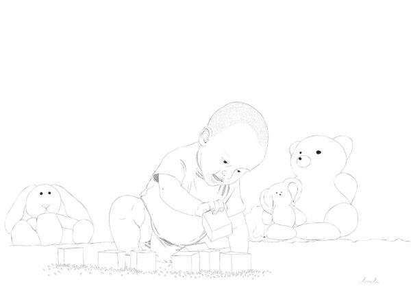 Klotisdega mängiv laps ja graafiline joonistus sellest