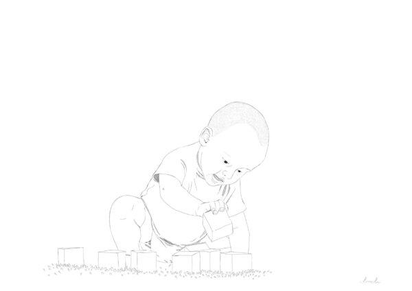 Klotsidega mängiv laps ja graafiline joonistus sellest