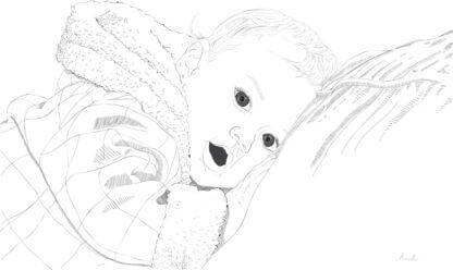 Pikutav laps hallide toonidega ja graafiline joonistus sellest