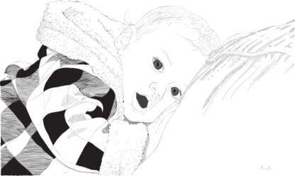 Pikutav laps tumedate toonidega ja graafiline joonistus sellest