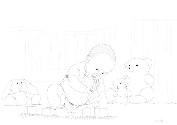 Mängiv laps, taust ja graafiline joonistus sellest