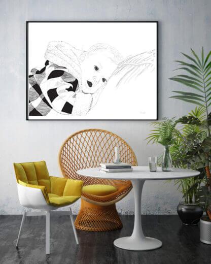 Graafiline joonistus lapsest seinal