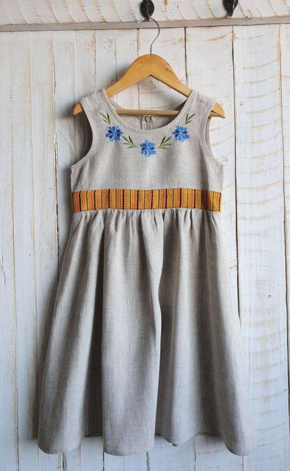 Linane laste kleit rahvuslikus stiilis MUHU MUSTRIGA