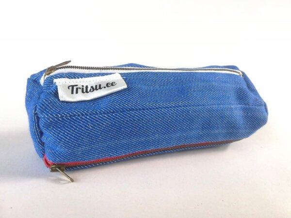 Helesinine kott punase, valge, sinise lukuga