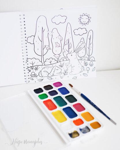 Värviraamat pilt jänkudega