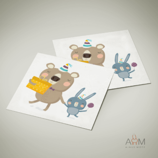 Postkaart Jänes ja karu