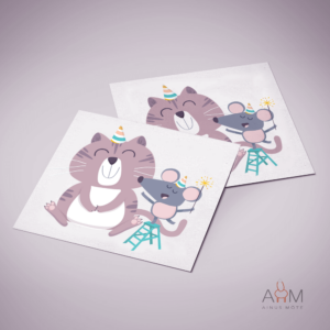 Postkaart kass ja hiir