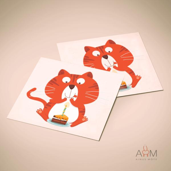 Postkaart kass koogiga