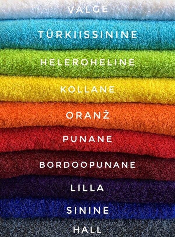 Froteerätikute ja saunalinade värvivalik.